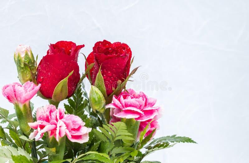 Le rose rosse ed il garofano rosa fiorisce sul BAC della carta del gelso bianco immagine stock libera da diritti