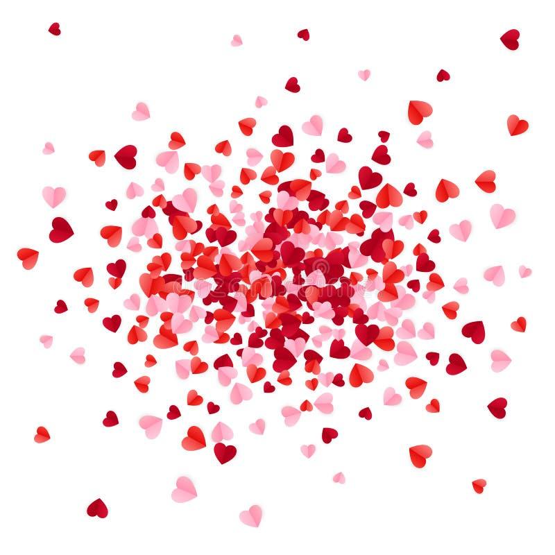 Le rose rouge et a monté les confettis de papier de coeurs de dispersion Illustration de vecteur d'isolement sur le fond blanc illustration de vecteur