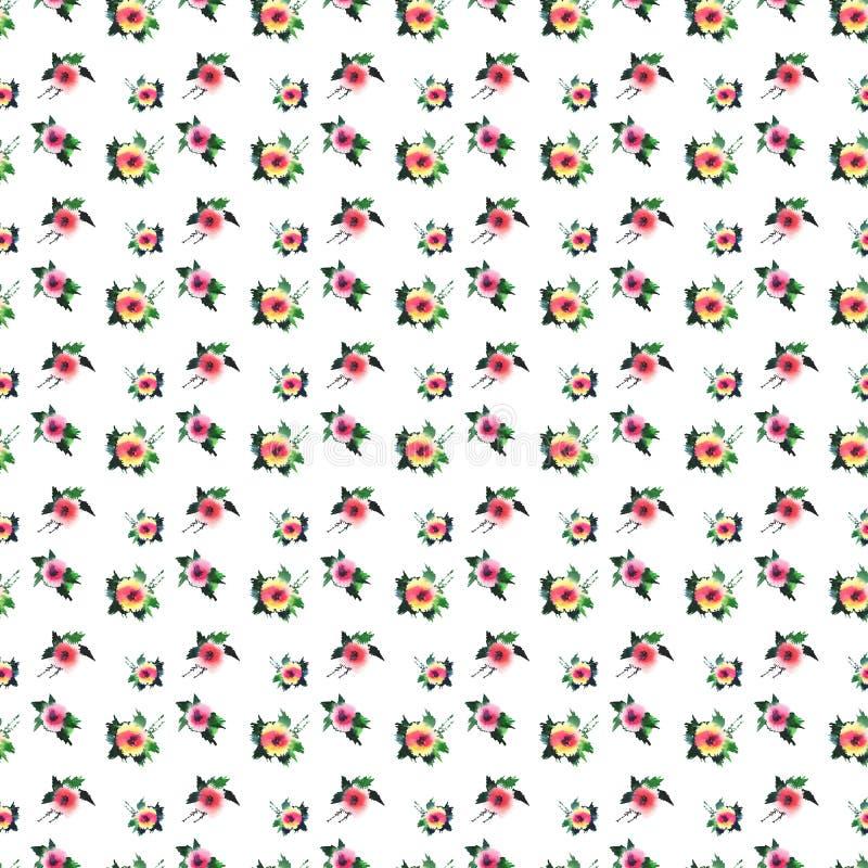 Le rose variopinte dei wildflowers della molla adorabile specializzata splendida luminosa con i germogli e le foglie verdi modell royalty illustrazione gratis