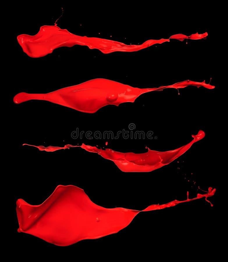 Le rouge abstrait éclabousse sur le fond noir photo libre de droits