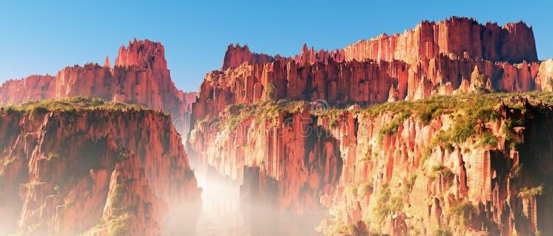 Le rouge brumeux bascule le paysage de canyon avec la rivière et le ciel bleu image stock