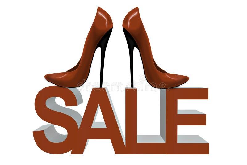 Le rouge chausse talons de mode de femmes de vente de hauts illustration stock