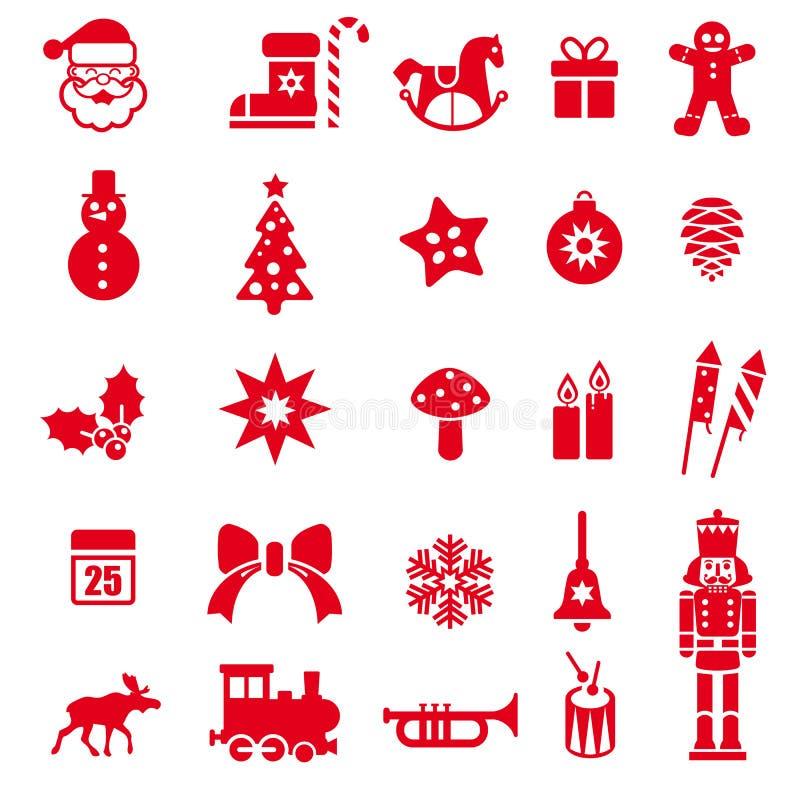 Le rouge a coloré des icônes de Noël réglées Illustration de vecteur illustration stock