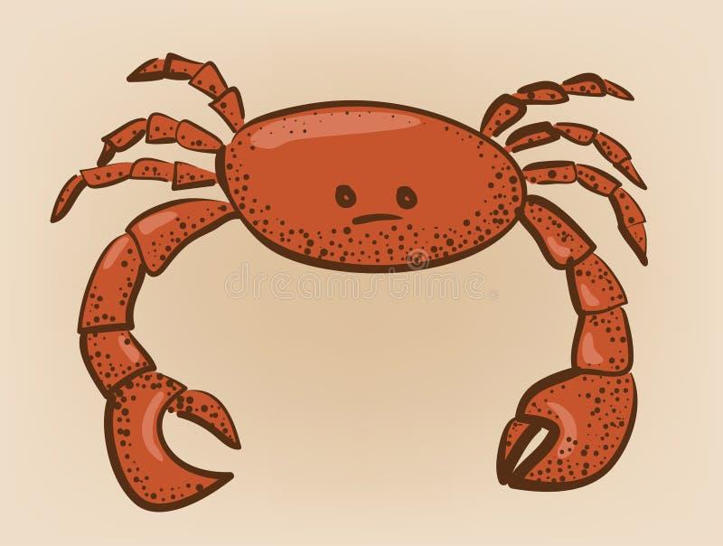 Le rouge a coloré le crabe avec la correction de l'abrégé sur i lumière réfléchie image libre de droits