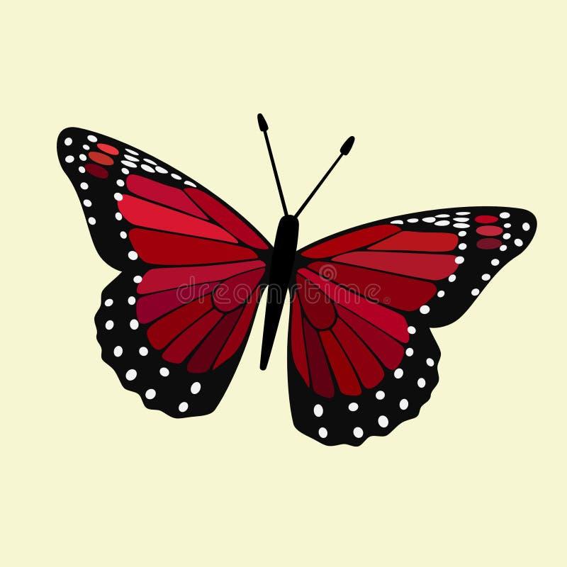 Le rouge a coloré le monarque à ailes - vecteur de papillon illustration stock