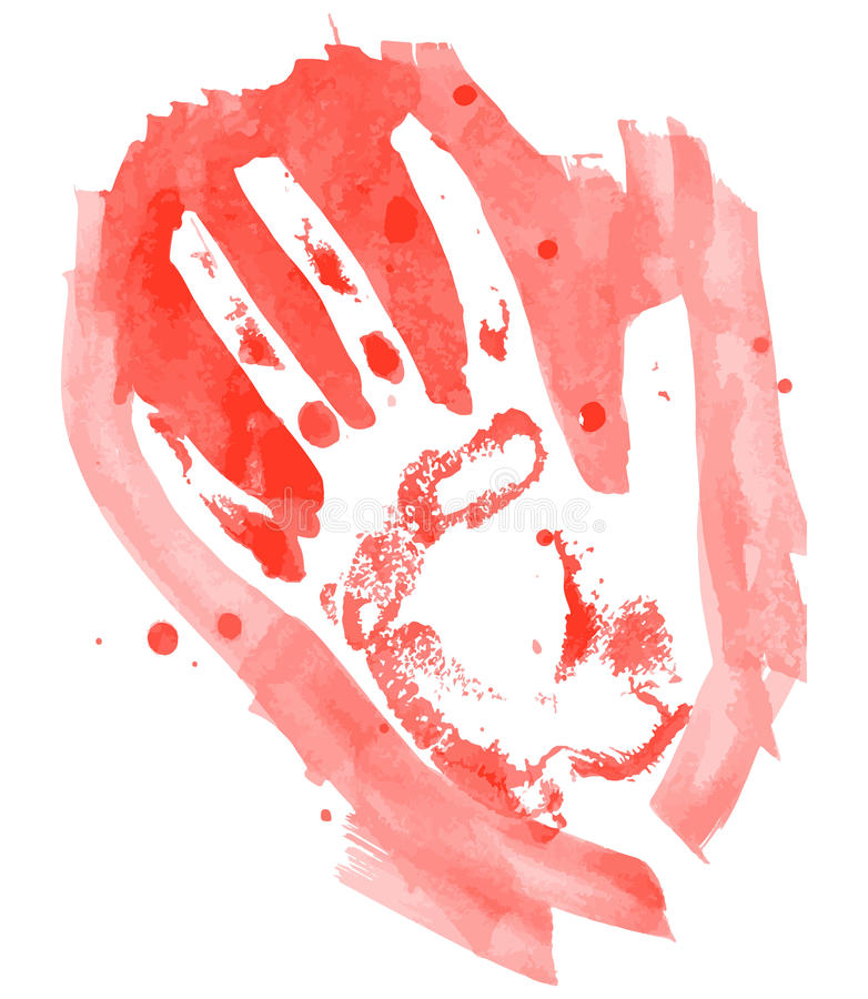 Le rouge d'aquarelle badine le handprint d'isolement sur le fond blanc illustration stock