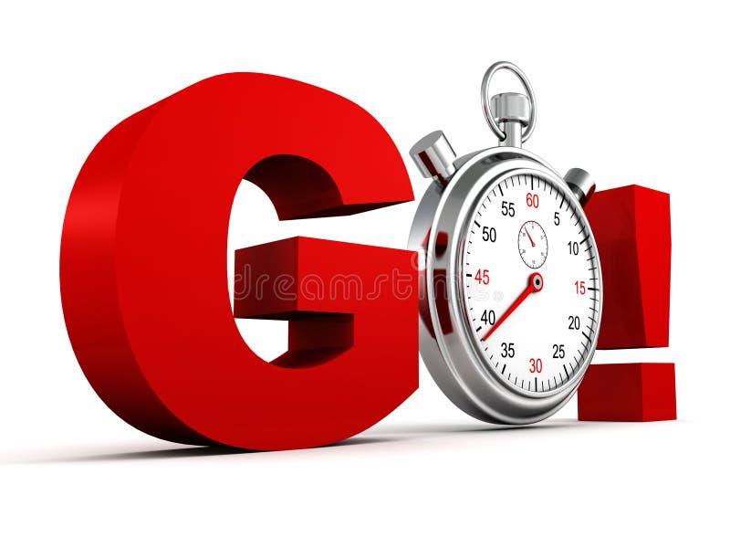 Le rouge de concept de concurrence VONT des lettres avec le chronomètre illustration libre de droits