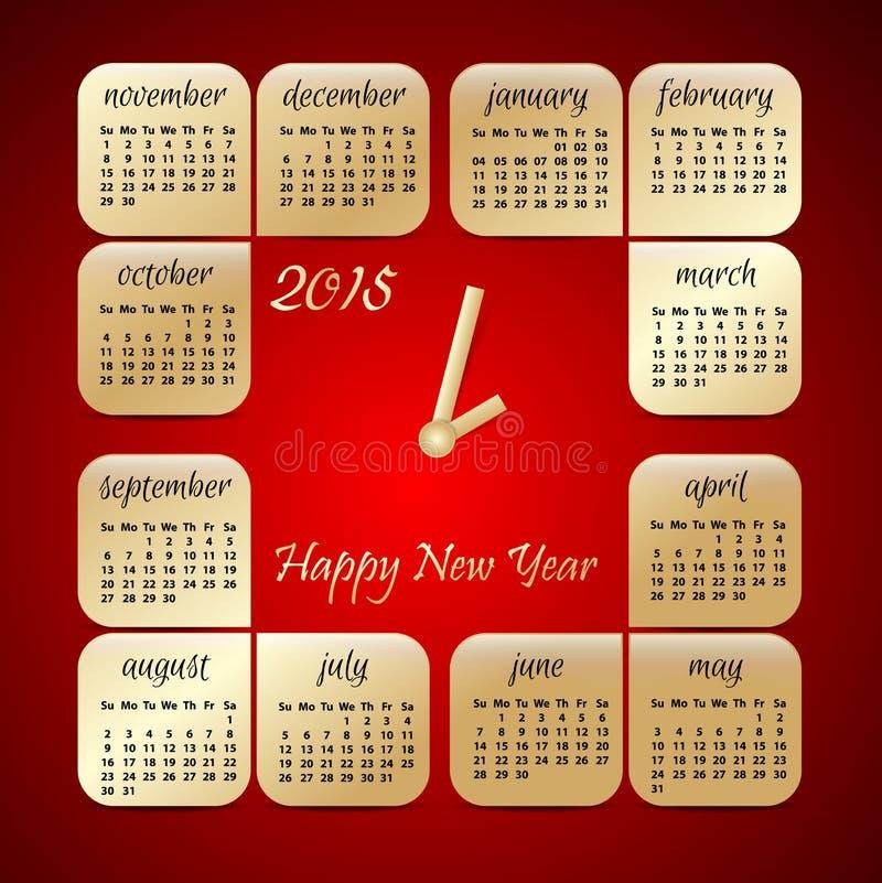 le rouge de vecteur de 2015 ans et le calendrier d'or ont stylisé l'horloge illustration de vecteur