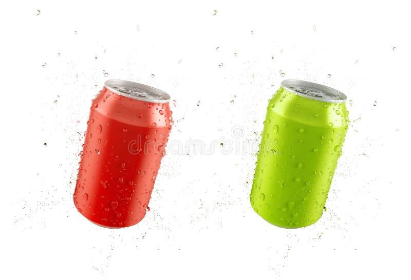 Le rouge et le vert peuvent avec le dro d'eau douce illustration stock
