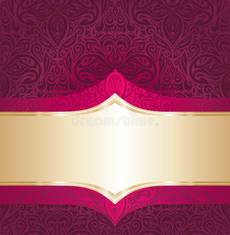 Le rouge floral de fond et l'invitation de luxe de vintage d'or conçoivent illustration libre de droits