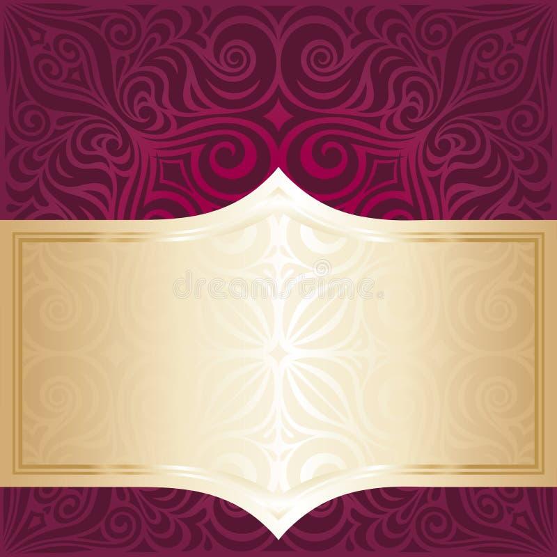 Le rouge floral et l'invitation de luxe d'or conçoivent dans le style de vintage de mandala de mode illustration libre de droits