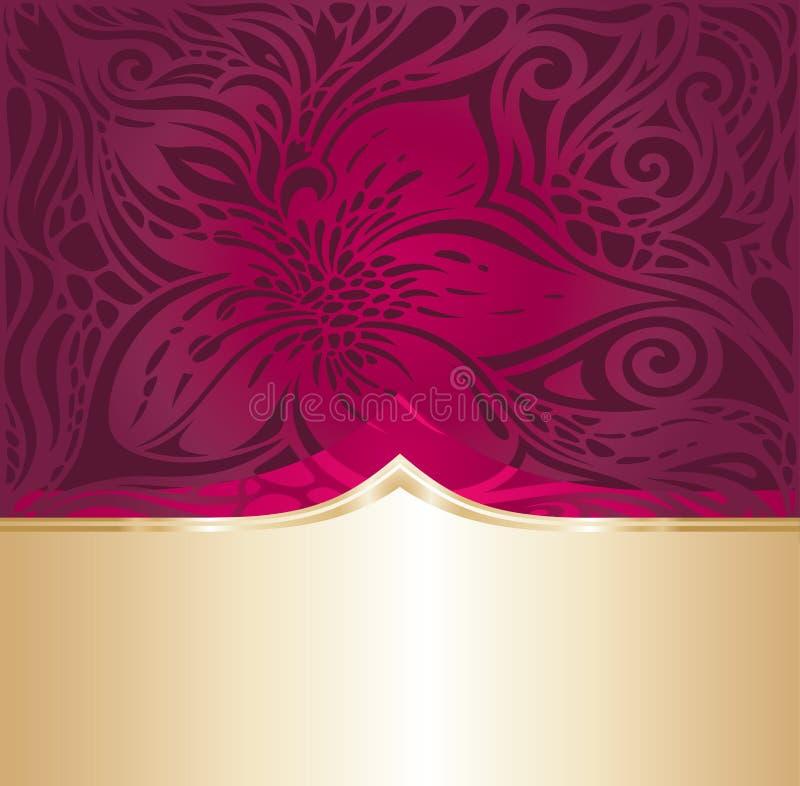 Le rouge floral et l'invitation de luxe d'or conçoivent dans le style de vintage de mode illustration stock