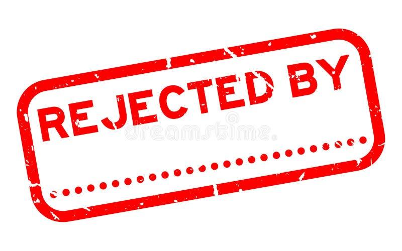Le rouge grunge a rejeté par avec le point pour le tampon en caoutchouc carré de signature sur le fond blanc illustration libre de droits