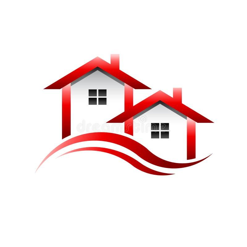 Le rouge loge le logo d'image d'immobiliers illustration stock