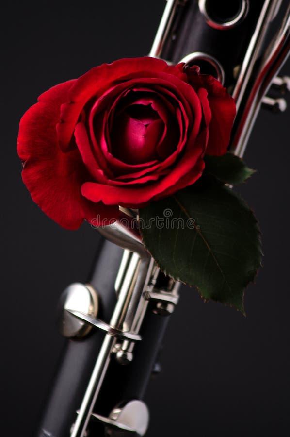 le rouge noir de clarinet de bk a monté photographie stock