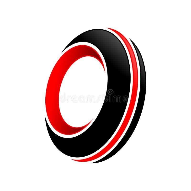 Le rouge noir de rotation abstrait de pneu accentue le symbole Logo Design illustration de vecteur