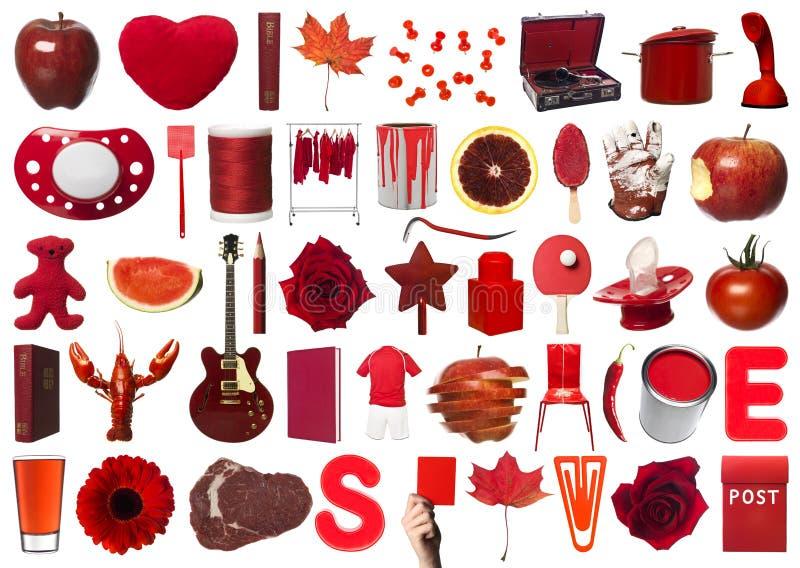 Le rouge objecte le collage photo stock