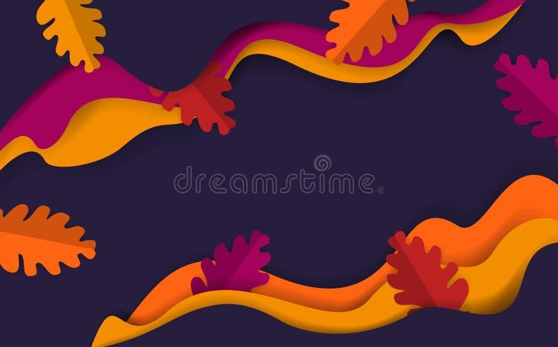 Le rouge orange bleu-foncé d'automne de chute de saison onduleuse abstraite de thanksgiving a coloré la bannière avec les feuille illustration stock