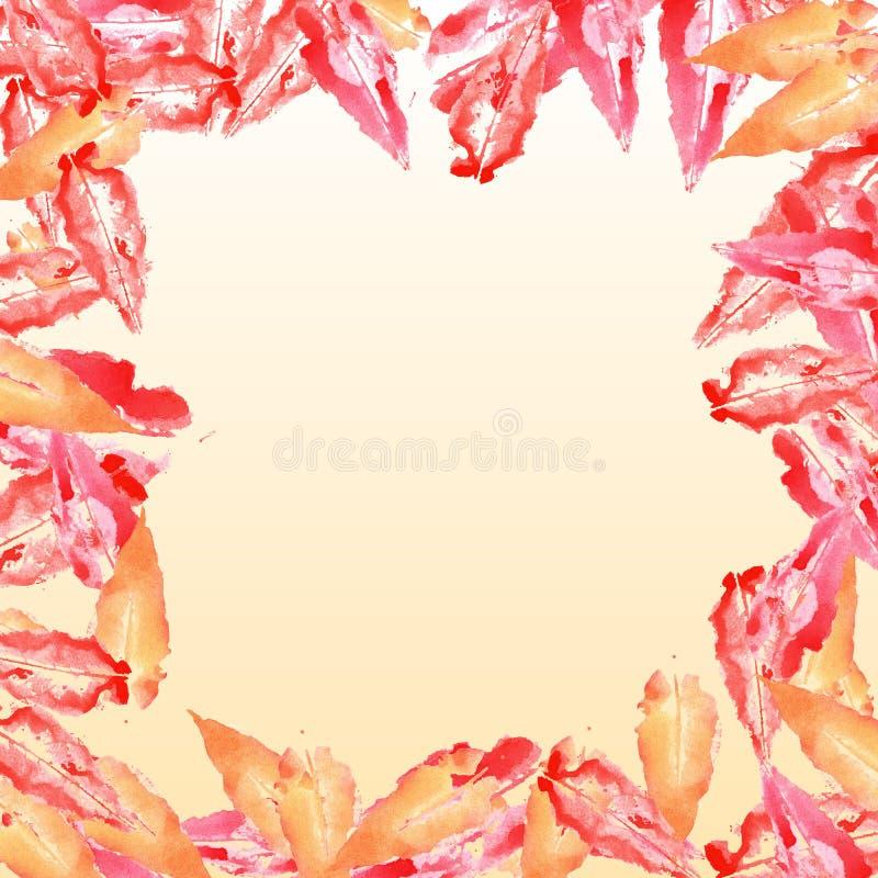 Le rouge orange d'automne a séché la composition en frontière de cadre de place de nature de chute d'arbre de feuille illustration libre de droits