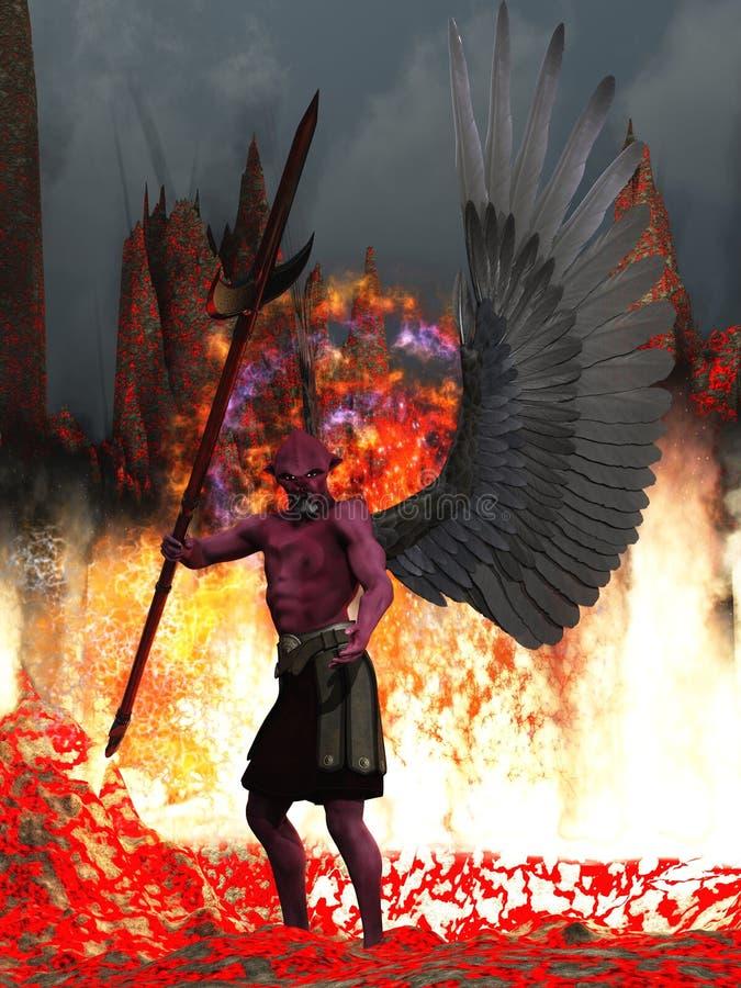Le rouge a pelé le démon à ailes dans l'enfer illustration libre de droits