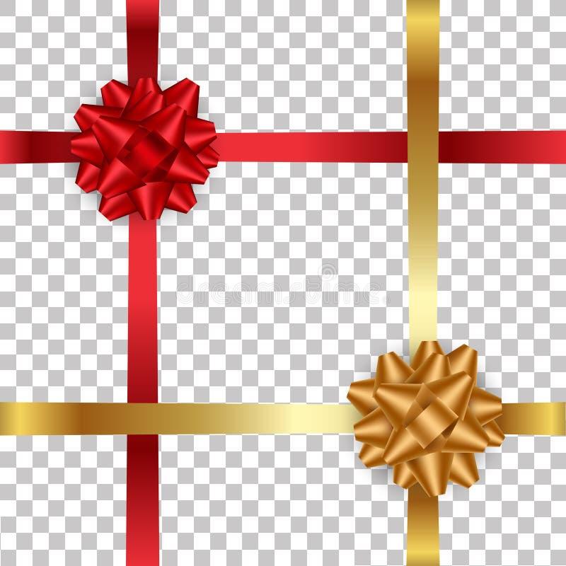 Le rouge réaliste et l'or cintrent avec le ruban sur le fond transparent Illustration de vecteur illustration de vecteur
