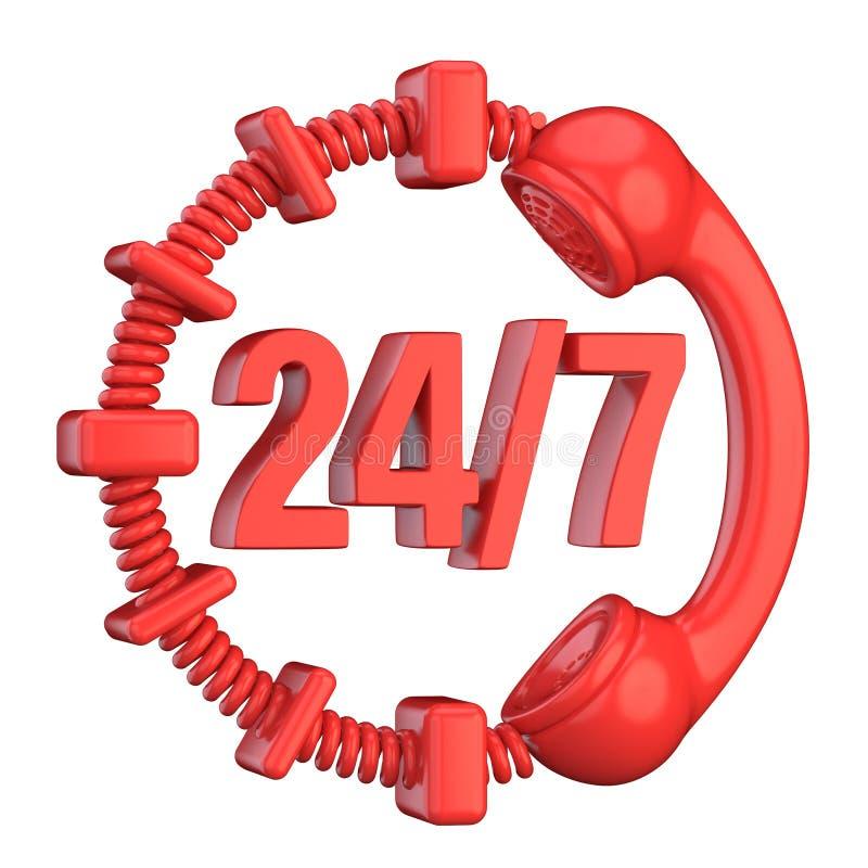 Le rouge signent 24 heures sur 24 et 7 jours par semaine 3d illustration stock