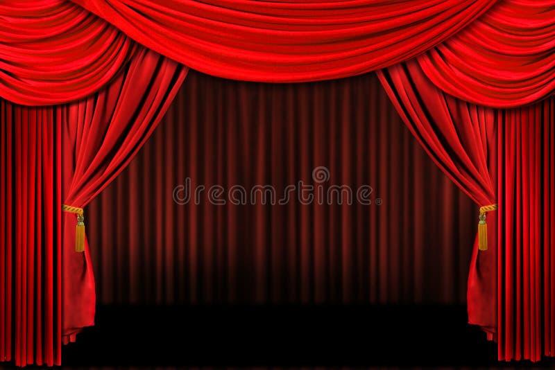 Le rouge sur le théâtre d'étape drape illustration de vecteur