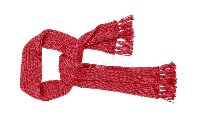 Le rouge a tricoté l'isolat d'écharpe photos stock