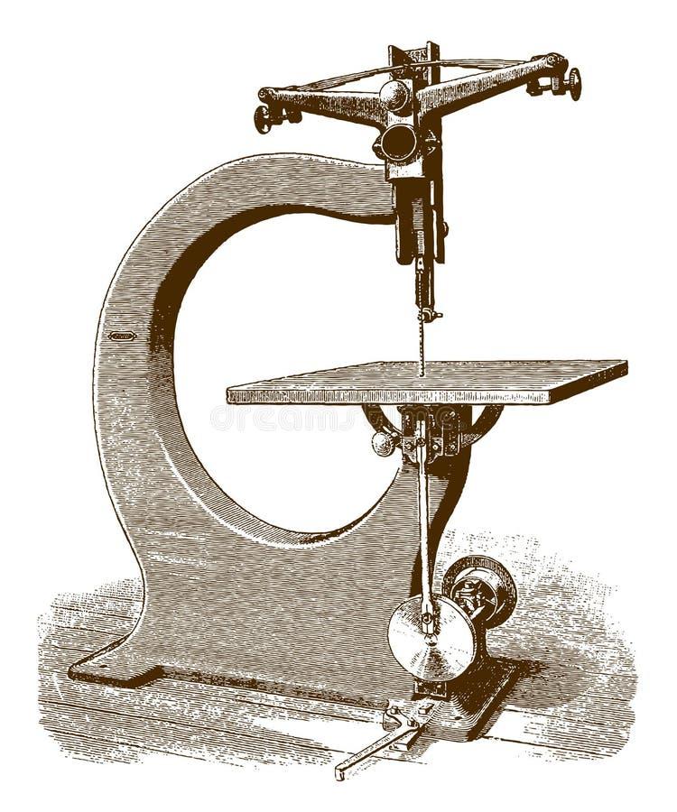 Le rouleau historique a vu la machine illustration de vecteur
