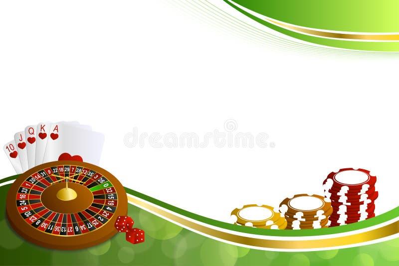 Le roulette astratte del casinò dell'oro verde del fondo cardano l'illustrazione delle schifezze dei chip royalty illustrazione gratis