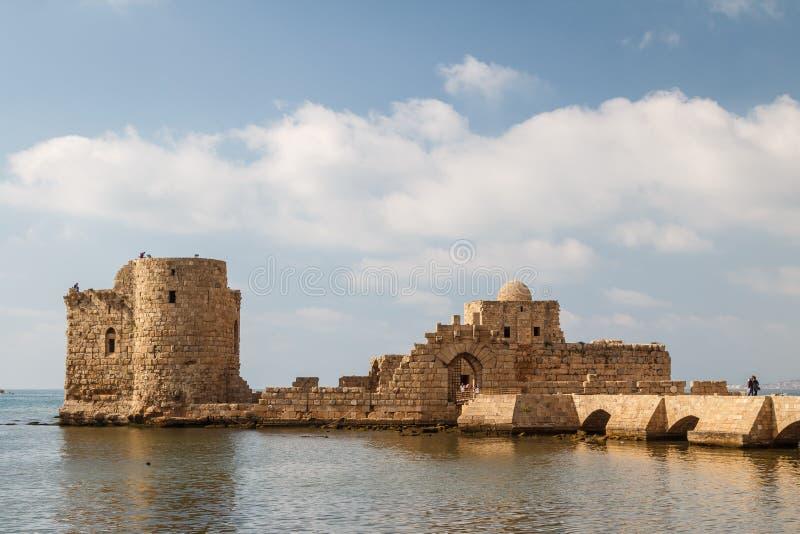 Le rovine dei crociati fortificano in Sidon & in x28; Saida& x29; fotografia stock