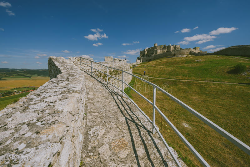 Le rovine del castello di Spis, Slovacchia fotografia stock