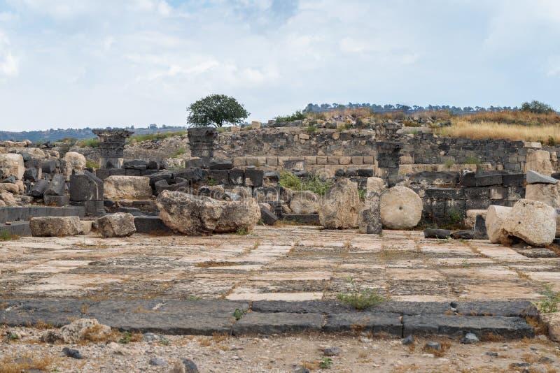Le rovine del Greco - città romana dello III secolo BC - l'ANNUNCIO del VIII secolo Hippus - Susita su Golan Heights vicino al ma fotografie stock libere da diritti