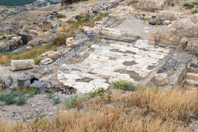 Le rovine del Greco - città romana dello III secolo BC - l'ANNUNCIO del VIII secolo Hippus - Susita su Golan Heights vicino al ma fotografie stock