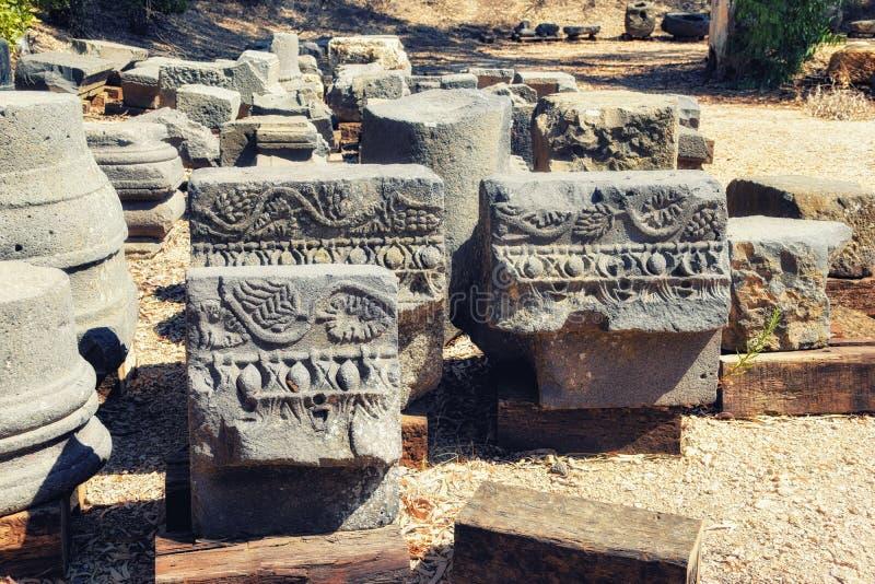 Le rovine della sinagoga talmudica al parco archeologico di Katzrin fotografia stock libera da diritti