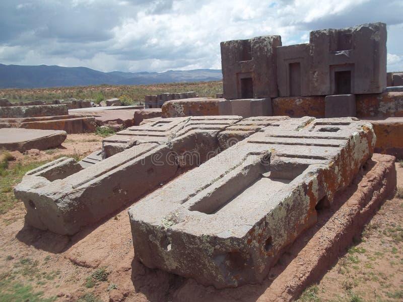Le rovine di Pumapunku fotografia stock