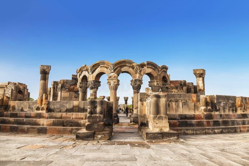 Le rovine di un tempio medievale di Zvartnots fotografie stock libere da diritti