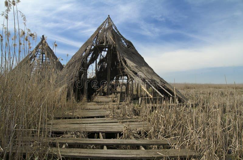 Le rovine di un villaggio celtico a Comana parcheggiano fotografie stock libere da diritti