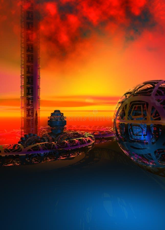 Le rovine di una civilizzazione straniera su un pianeta sconosciuto, cielo di tramonto, terra blu, illustrazione 3d royalty illustrazione gratis