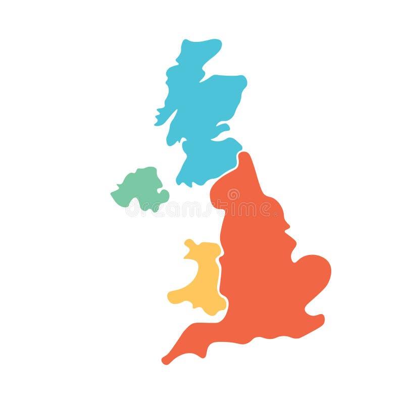 Le Royaume-Uni, aka le R-U, de la carte vide tirée par la main de la Grande-Bretagne et de l'Irlande du Nord Divisé à quatre pays illustration stock