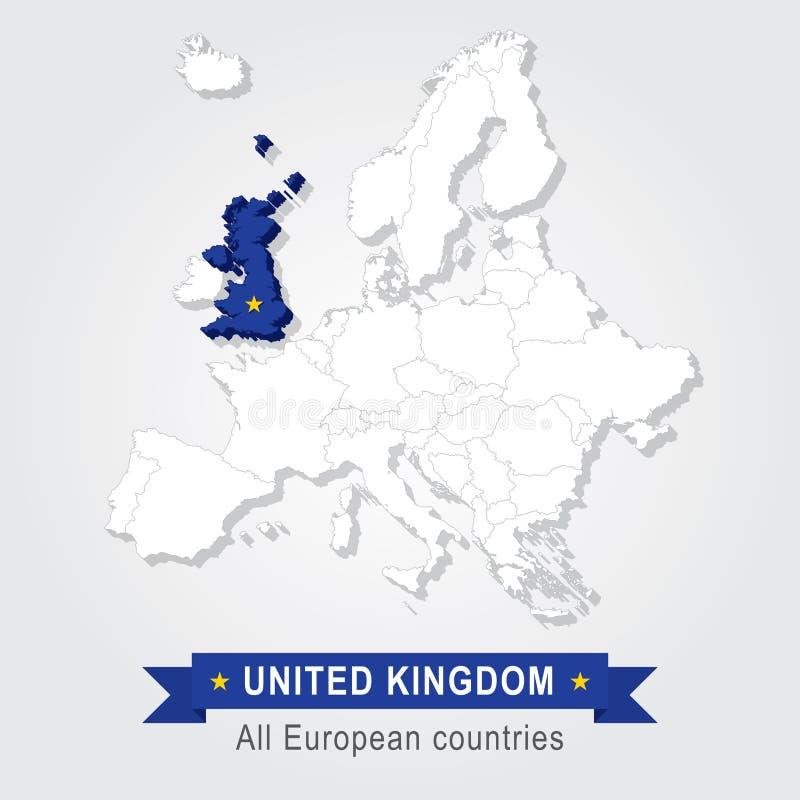 Le Royaume-Uni Carte administrative de l'Europe illustration de vecteur
