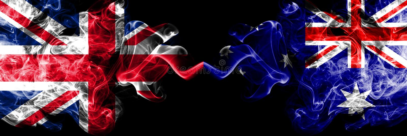Le Royaume-Uni contre l'Australie, drapeaux mystiques fumeux australiens placés côte à côte r illustration de vecteur