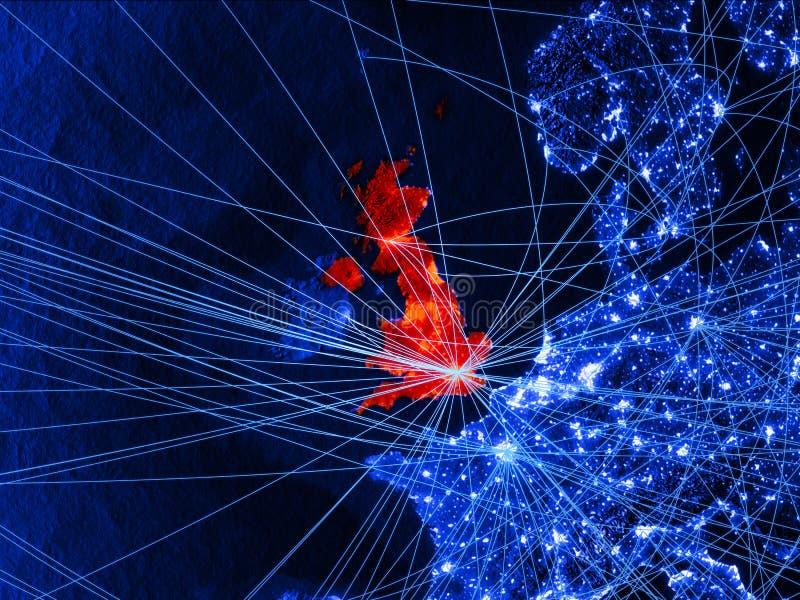 Le Royaume-Uni sur la carte numérique bleue avec des réseaux Concept de voyage international, de communication et de technologie  illustration stock