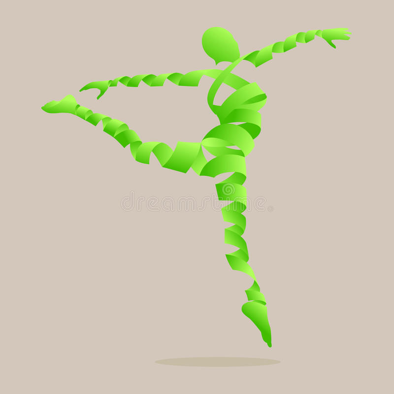 Le ruban abstrait a formé avec la danse d'aérobic pour amincir. illustration stock