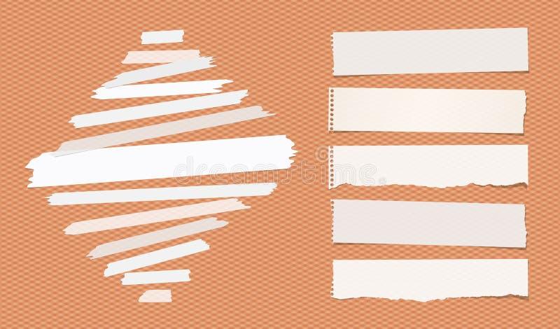 Le ruban collant et adhésif, les bandes de papier déchirées de note a collé sur le fond orange carré illustration libre de droits