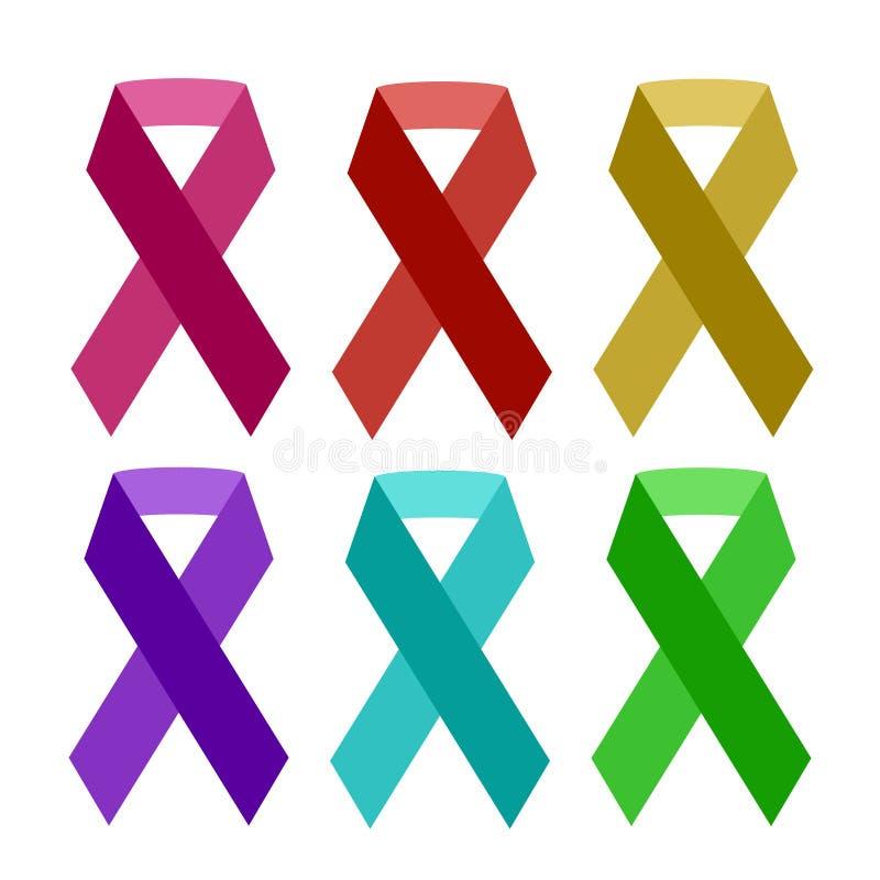 Le ruban coloré d'aides d'isolement sur le ruban blanc de conscience de vecteur facilite l'élément de charité de symbole d'HIV illustration de vecteur