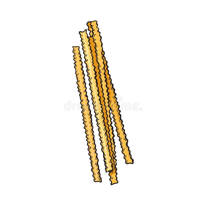 Le ruban cru a coupé les pâtes italiennes avec des côtés de ruche illustration de vecteur