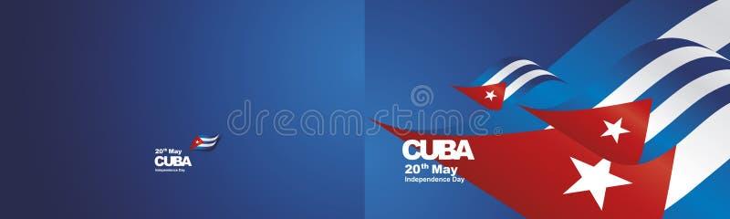 Le ruban deux de drapeau du Cuba de Jour de la Déclaration d'Indépendance fois le fond de paysage illustration de vecteur