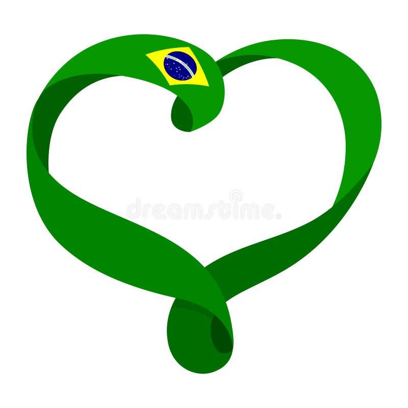 Le ruban du Brésil a formé le coeur, le symbole de l'amour et l'harmonie illustration stock