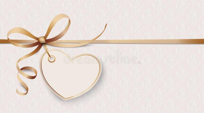 Le ruban noble ornemente le coeur de papier peint illustration libre de droits